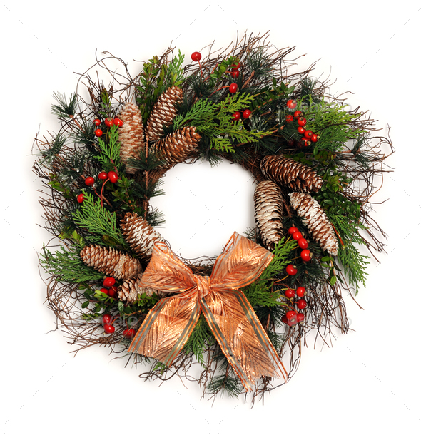beautiful christmas wreath - Stock Photo - Images