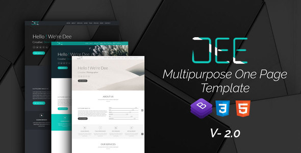 Dee Personal One Page multi color Portfolio Template - Creative Site Templates