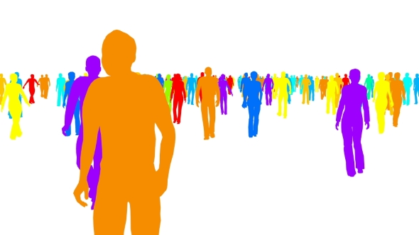 VideoHive Color Silhouettes Crowd of People Moves on White 21093173