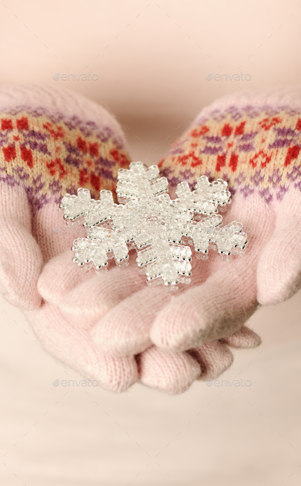 hands with snowflake - Stock Photo - Images