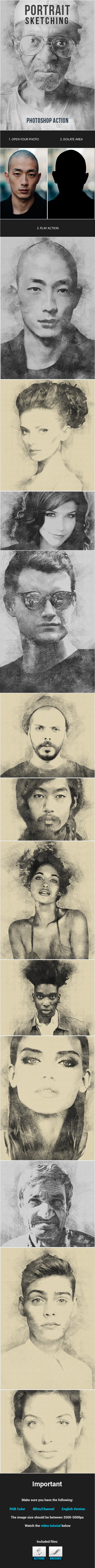 Portrait Sketching Design - Photo Effects Actions