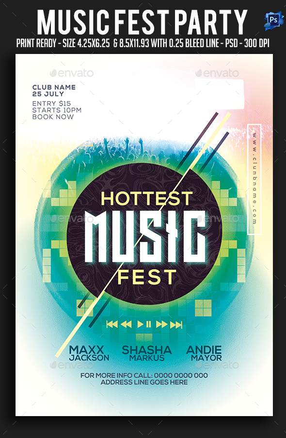 Music Fest Party Flyer - Clubs & Parties Events