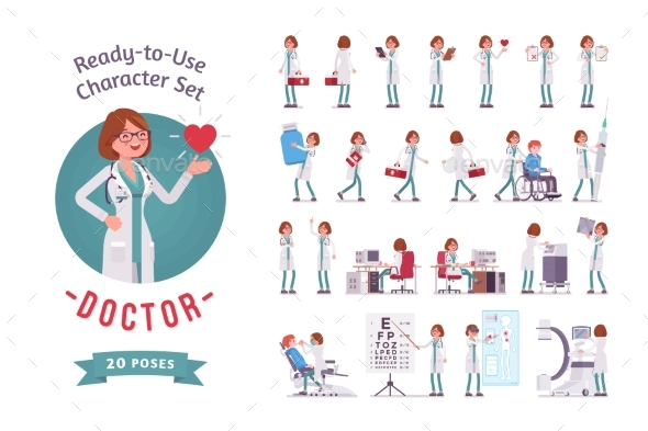 GraphicRiver Female Doctor Ready-to-Use Character Set 21093344