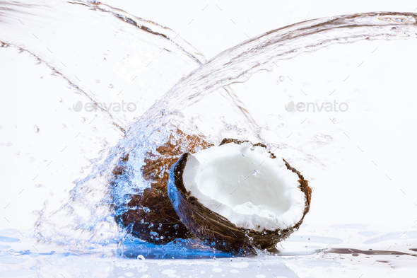 cracked coconut - Stock Photo - Images