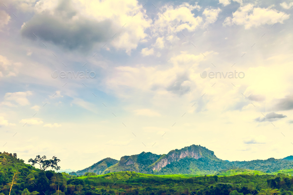 Mountains and cloudy sky in Thailand - Stock Photo - Images