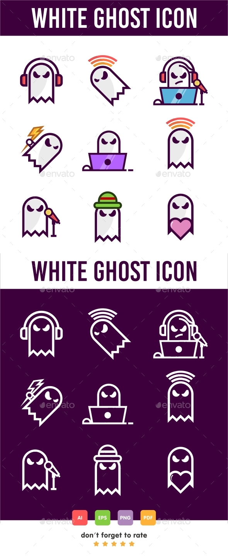 GraphicRiver White Ghost Icon Set 21093449