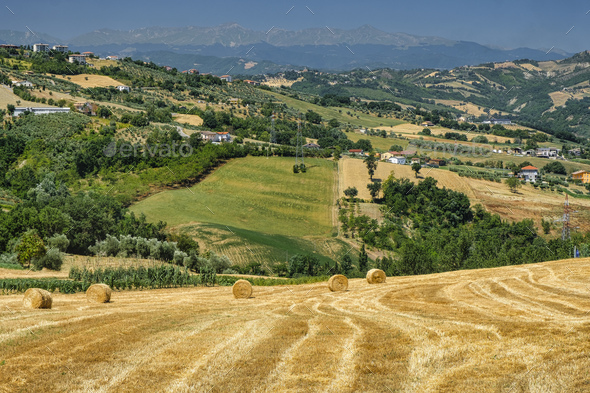 Landscape near Teramo (Abruzzi) at summer - Stock Photo - Images