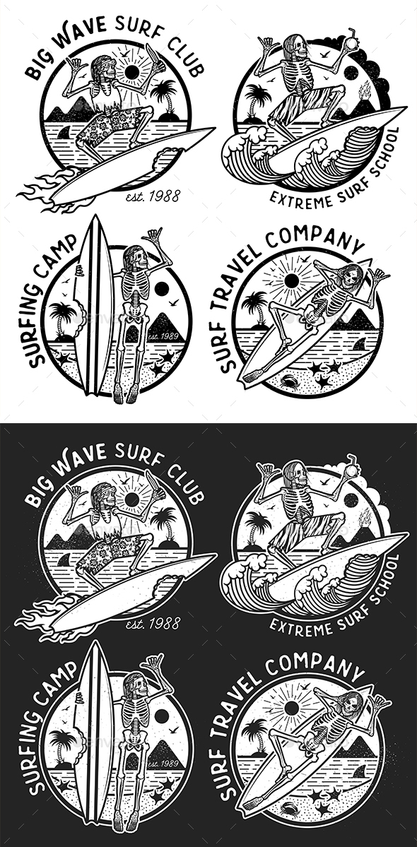 Skeleton Surfer Logo Templates - Sports/Activity Conceptual
