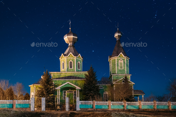 Old Russian Wooden Orthodox Church Of The Holy Trinity Under Nig - Stock Photo - Images