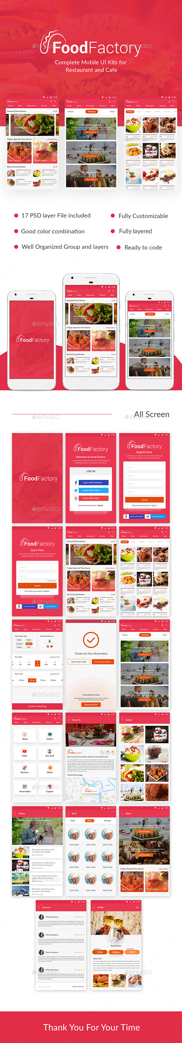 Food Factory - Complete Mobile UI Kits for  Restaurant and Cafe - User Interfaces Web Elements