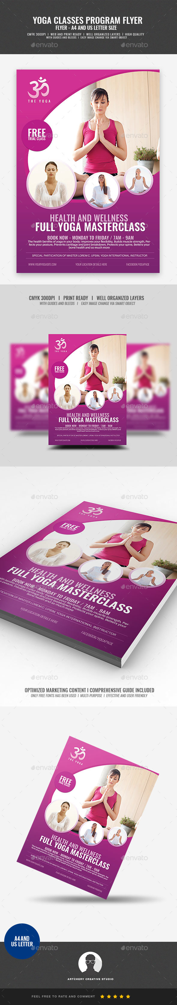 GraphicRiver Yoga Class and Session Flyer 21093699