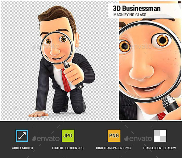 3D Businessman Looking Through a Magnifying Glass - Characters 3D Renders