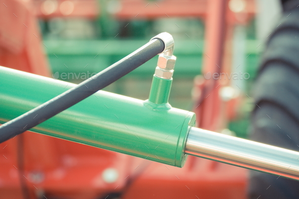 Detail of pneumatic or hydraulic machinery, technology and engineering - Stock Photo - Images