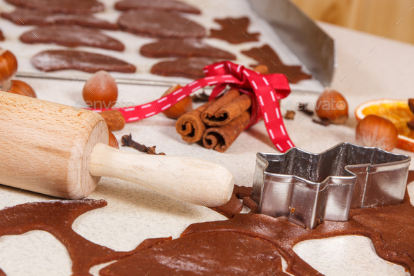 Dough, ingredients and accessories for baking gingerbread, Christmas time concept - Stock Photo - Images