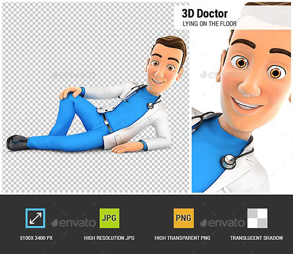 3D Doctor is Lying on the Floor - Characters 3D Renders