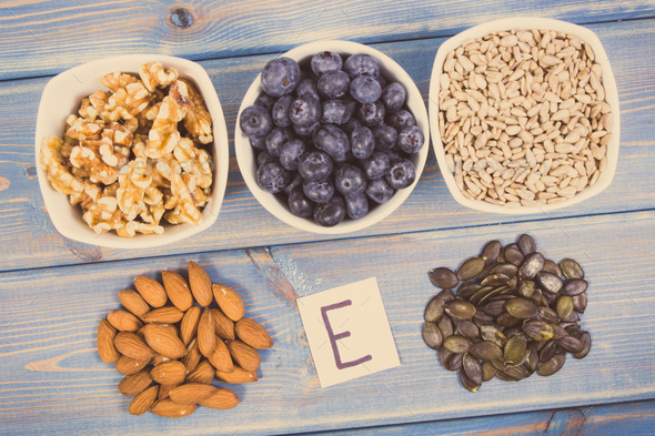 Products, ingredients containing vitamin E and dietary fiber - Stock Photo - Images