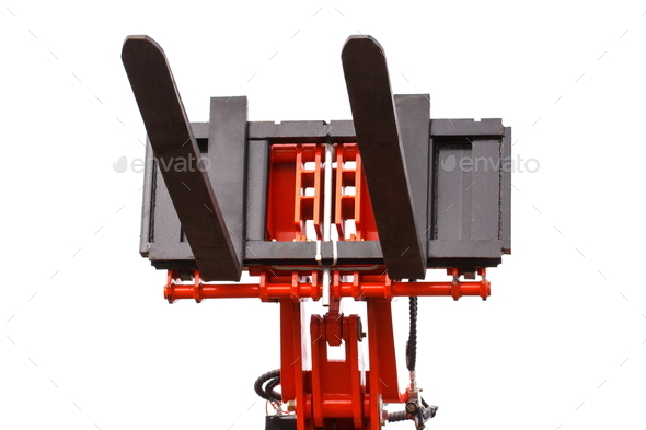 Part of forklift loader or stacker, technology and transportation concept - Stock Photo - Images