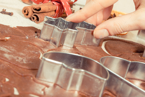Cookie cutters, ingredients and dough for baking - Stock Photo - Images
