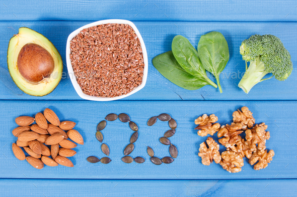 Ingredients containing omega 3 acids, unsaturated fats and fiber - Stock Photo - Images