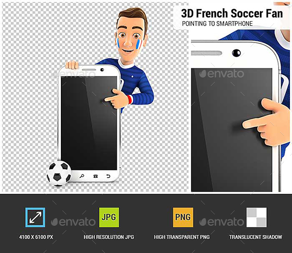 3D French Soccer Fan Pointing to Blank Smartphone - Characters 3D Renders