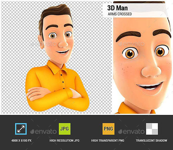 GraphicRiver 3D Man with Arms Crossed 21093806
