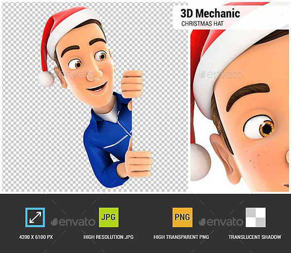 3D Mechanic with Christmas Hat Peeping Over Wall - Characters 3D Renders