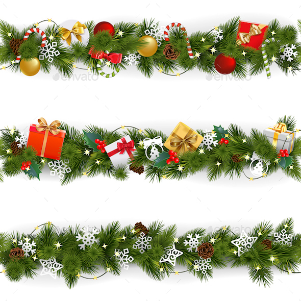 GraphicRiver Vector Christmas Border Set with Garland 21093866
