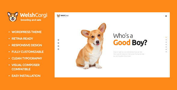 Welsh Corgi  | Dog Breeding and Sale WordPress Theme - Retail WordPress