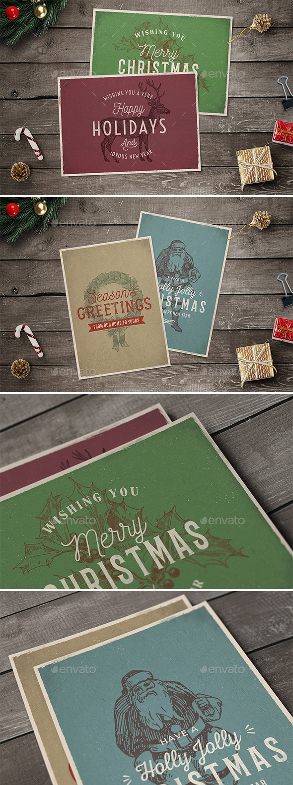 GraphicRiver 4 Vintage Christmas Cards 21094023