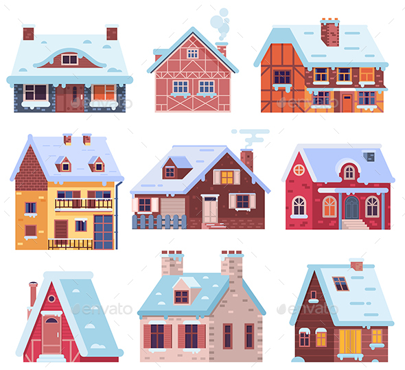 Winter Houses and Cottages Set - Buildings Objects