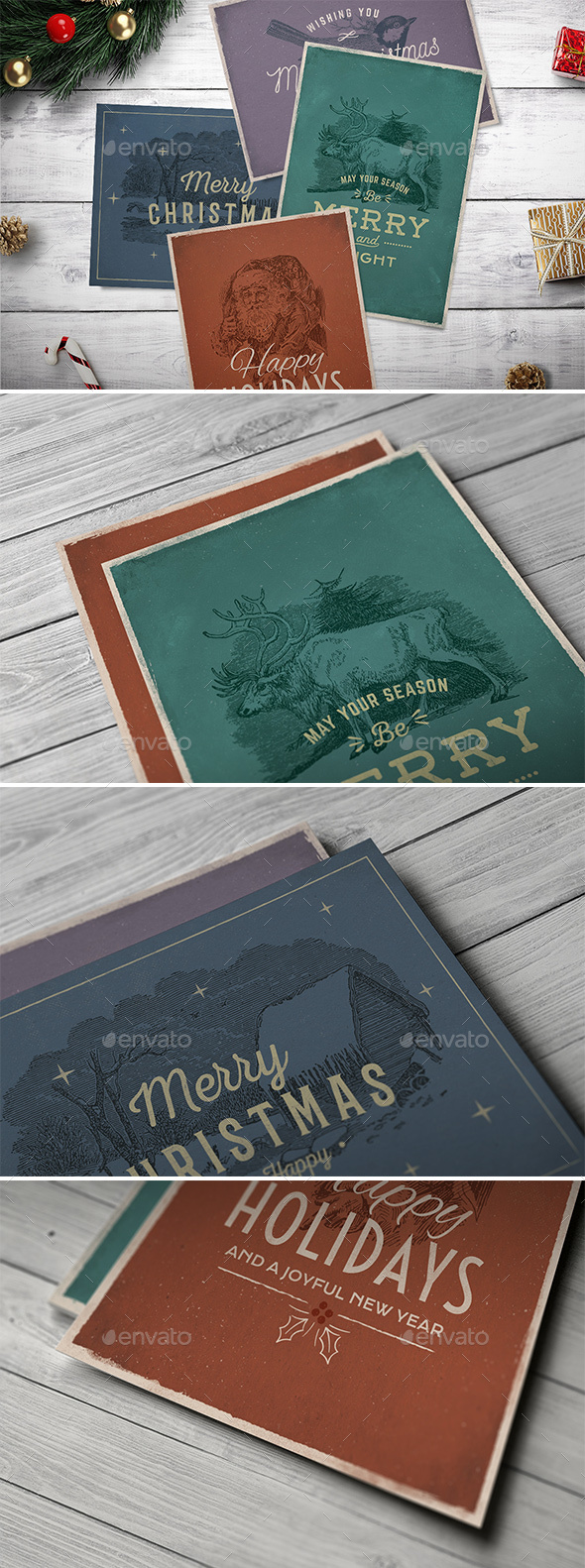GraphicRiver 4 Vintage Christmas Cards vol 2 21094108