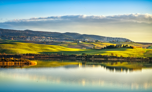 Tuscany, Santa Luce lake panorama on sunset, Pisa, Italy - Stock Photo - Images