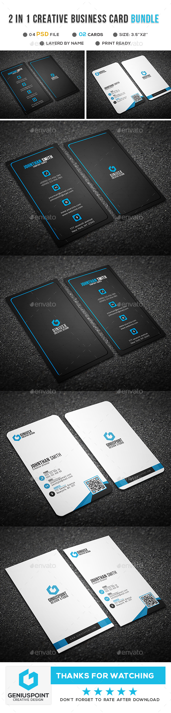 GraphicRiver 2 in 1 Creative Business Card Bundle 21094209