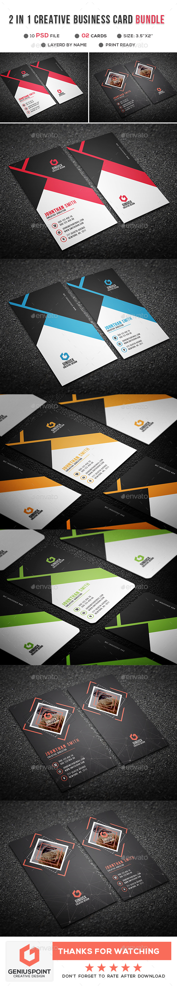 GraphicRiver 2 in 1 Creative Business Card Bundle 21094244