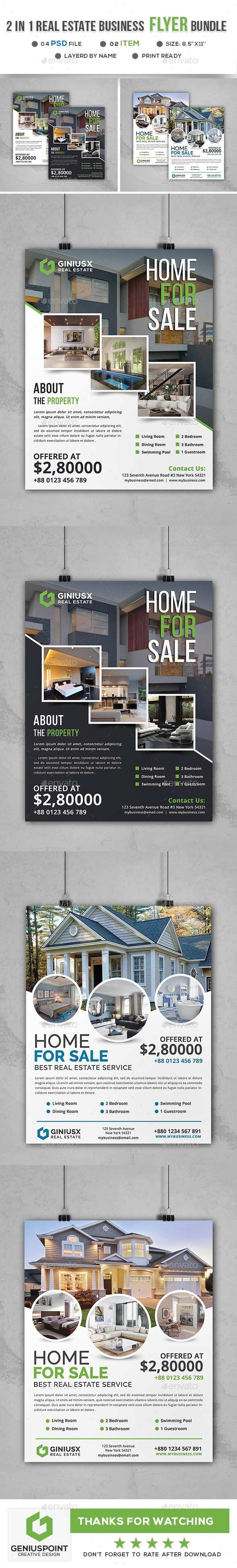 GraphicRiver Real Estate Business Flyer Bundle 21094330
