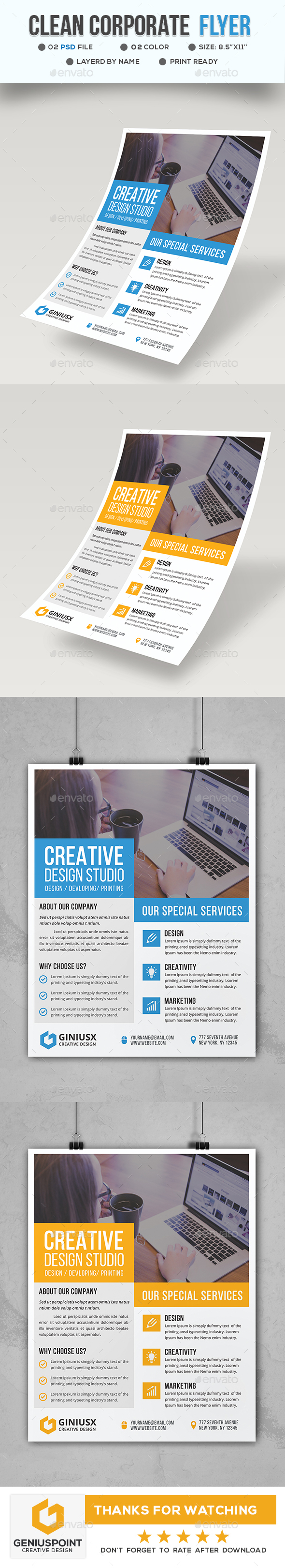 GraphicRiver Clean Corporate Business Flyer 21094421