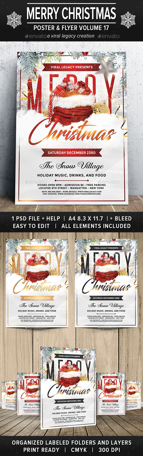 Merry Christmas Poster / Flyer V17 - Flyers Print Templates