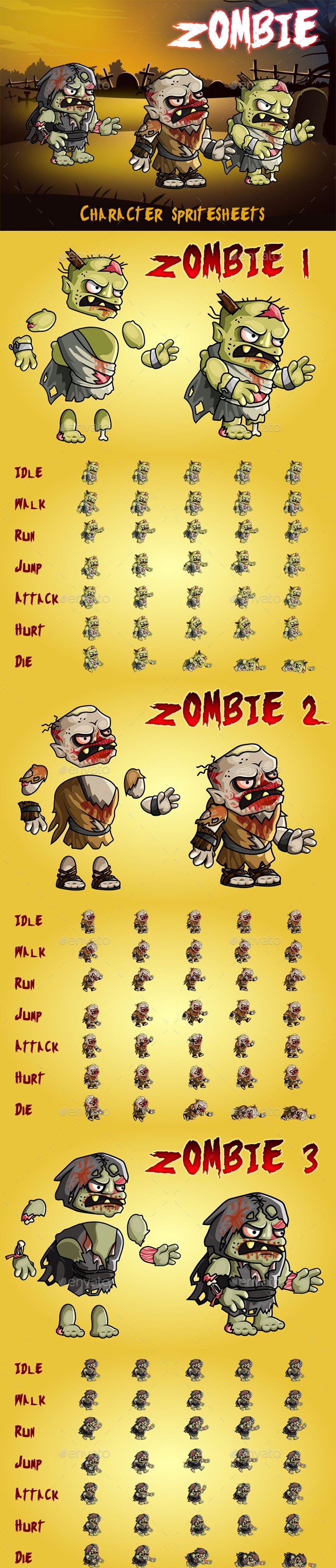 GraphicRiver Zombie 2D Game Character Sprite Sheet 21094534