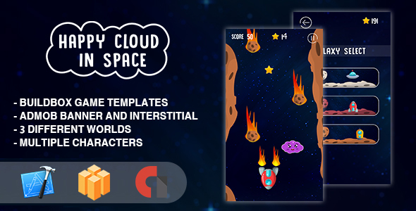 CodeCanyon Happy Cloud In The Space IOS XCODE Source & Buildbox Template 21094564