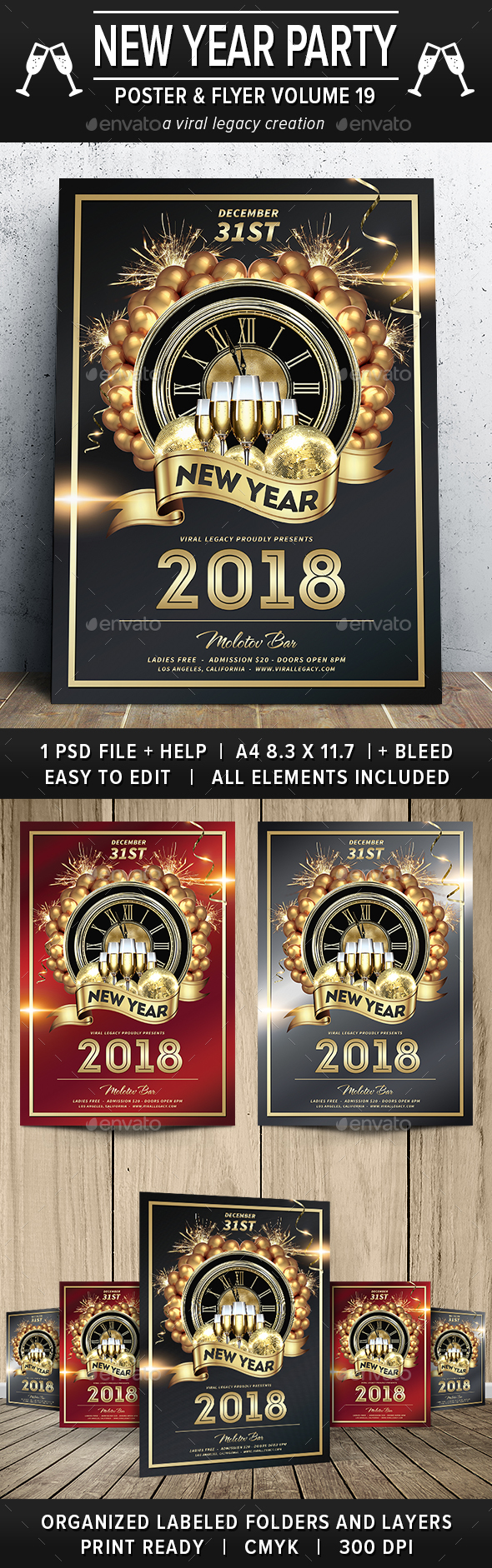 New Year Party Poster / Flyer V19 - Flyers Print Templates