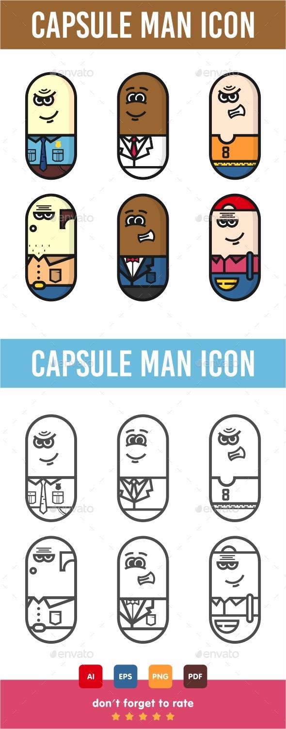 GraphicRiver Capsule Man Icon Set 21094646