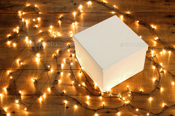 Gift Box and Fairy Lights - Stock Photo - Images