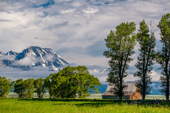 Old barn in Grand Teton Mountains - Stock Photo - Images