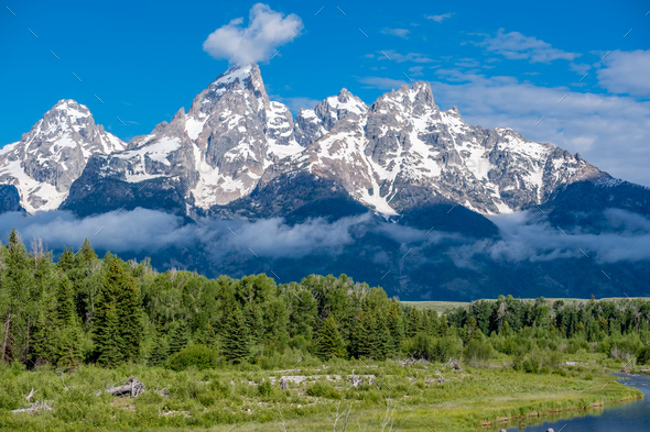 Mountains in Grand Teton National Park - Stock Photo - Images