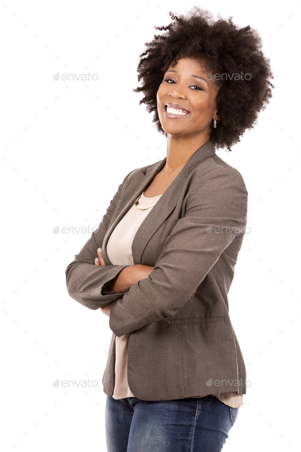 black casual woman on white background - Stock Photo - Images