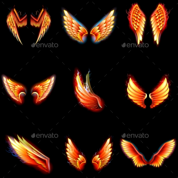 GraphicRiver Fire Wings Phoenix Vector Winged Angel Burning 21094999