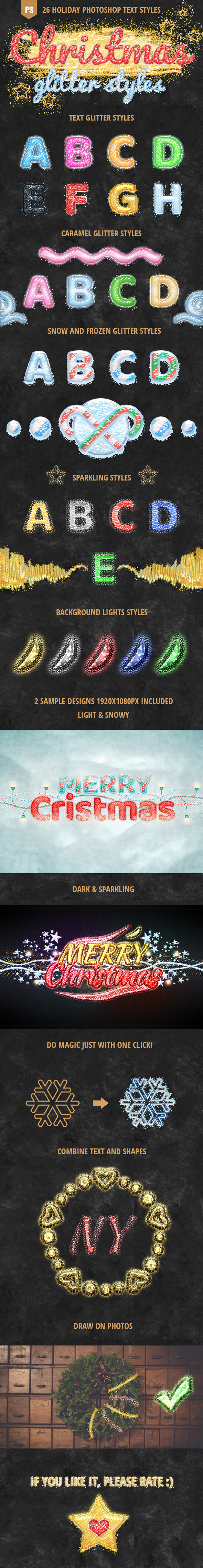 Photoshop Holiday Glitter Text Effects - Text Effects Styles