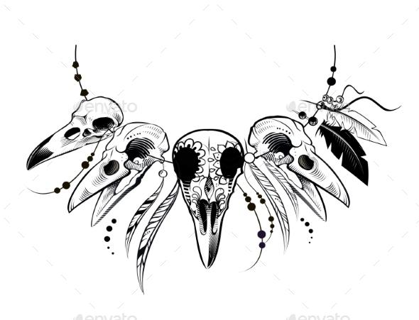 GraphicRiver Raven Sugar Mexican Skull 21095325