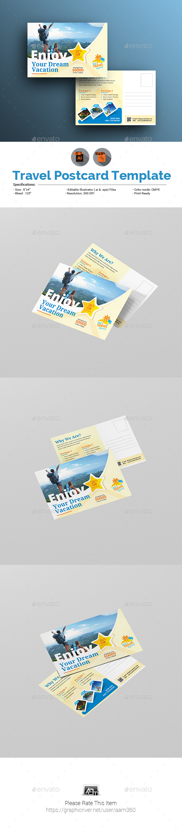 GraphicRiver Holiday Travel Postcard Template 21095416