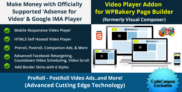 CodeCanyon Addon for WPBakery Page Builder Google IMA Video 21095477